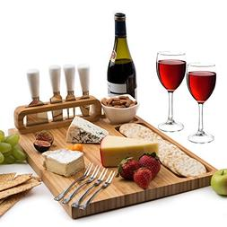 Bamboo Cheese Board and Cutlery set, includes 4 Cheese Knive
