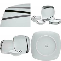Basics 18-Piece Square Kitchen Dinnerware Set, Dishes, Bowls
