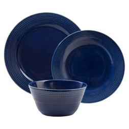 New Basket Rope Weave 12 Piece Dinnerware Set Dark Blue