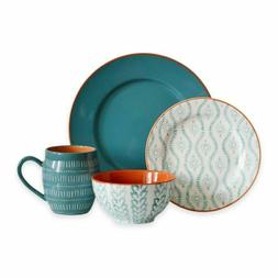 Baum Tangiers 16 Piece Dinnerware Set in Turquoise Missing 1