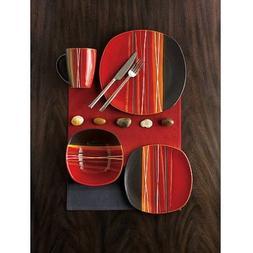 Better Homes and Gardens Bazaar Red 16-Piece Dinnerware Set