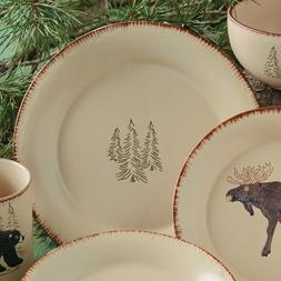 Bear & Moose Stoneware Lodge Dinner Plate