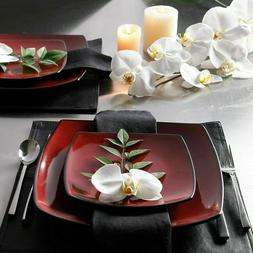 Beautiful 16 Piece Black And Red Dinnerware Set Round Square