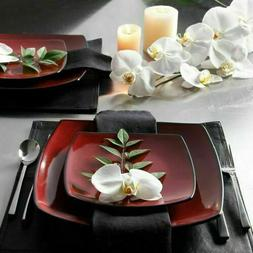 Beautiful 16-Piece Black And Red Dinnerware Set Round Square