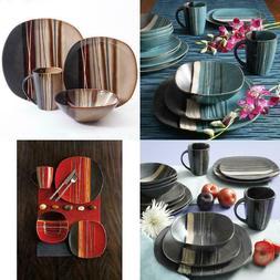 Beautiful 32-Piece Dinnerware Set Round Square Plates Bowls