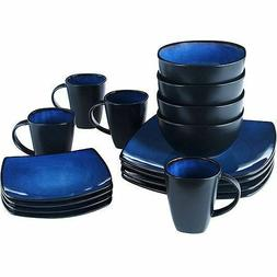 Beautiful Black And Blue Dinnerware Set 16 Piece Round Squar