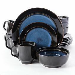Bella Galleria 16 PC Dinnerware Set BLUE BLACK Piece Kitchen
