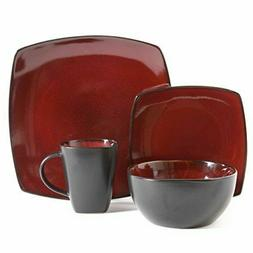 Gibson Bella Soho 16-Piece Square Reactive Glaze Dinnerware