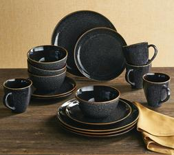 Better Homes & Gardens 16-Piece Burns Dinnerware Set, Black