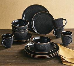 Better Homes & Gardens 16-Piece Burns Dinnerware Set, Black