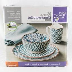 Better Homes & Gardens 16 Piece Dinnerware Set Piers Teal Br