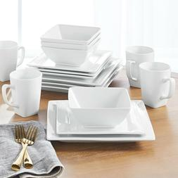 Better Homes & Gardens 16 Piece Square Dinnerware Set, White
