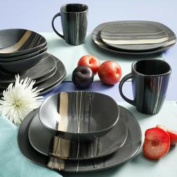 Better Homes & Gardens Bazaar Dinnerware Gray Set Of 16 Ston