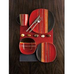 Better Homes & Gardens Bazaar Dinnerware, Red, Set Of 16