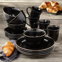 BETTER HOMES & GARDENS FARMA 16 PIECE DINNERWARE SET, BLACK