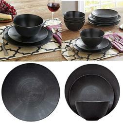 Better Homes & Gardens Matte Swirl 12-Piece Dinnerware Set,