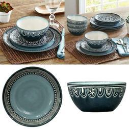 Better Homes & Gardens Teal Medallion 12-Piece Dinnerware Se