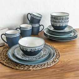 Better Homes & Gardens Teal Medallion 16 Piece Dinnerware Se