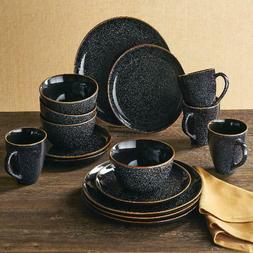 Better Homes Burns 16-Piece Uni Dinnerware Set Black Speckle
