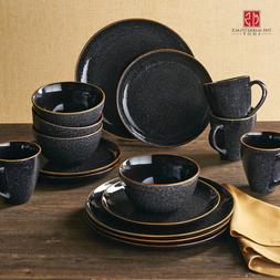 Better Homes Gardens 16-Piece Burns Dinnerware Set Black Spe