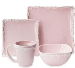 American Atelier Bianca Pink Wave 16-Piece Square Dinnerware