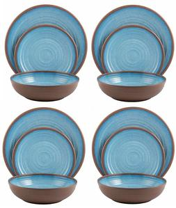 BK2FF2 Melange 12 Piece Melamine Dinnerware Set  Light Blue
