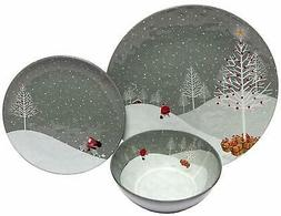 BK5A4 Melange 12-Piece 100% Melamine Dinnerware Set Santa Co