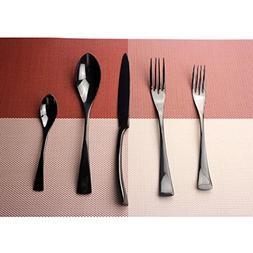 Uniturcky Black Cutlery Set, 20 piece Mirror Polishing Black
