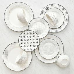 Black White Sketch Dining Dinnerware set for 4
