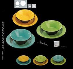 DEAGOURMET Black White Set Of Dishes, Stoneware, Green/Yello