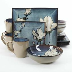 Bloomsbury Blue Flower Stoneware 16-Piece Dinnerware Set