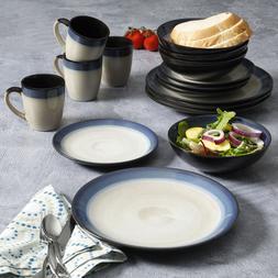 Blue Dinnerware Set 16pc Round Rustic Ceramic Tableware Plat