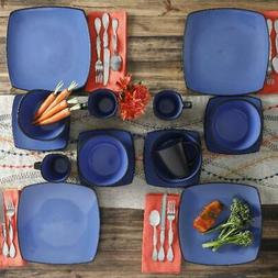 Blue Dinnerware Set Square Dinner Plates Mugs Dishes Bowls H