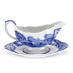 Spode Blue Italian Sauceboat and Stand