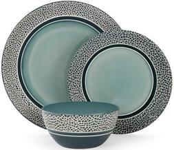 American Atelier Blue Mosaic 24-Piece Dinnerware Set Service