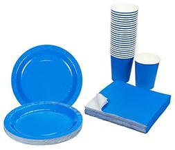 Blue Party Supplies - 24-Set Paper Tableware - Disposable Di