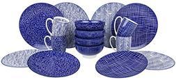VANCASSO Porcelain Ceramic Dinnerware Set for 4 person, Blue