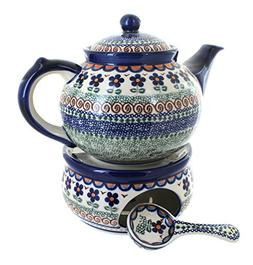 Blue Rose Polish Pottery Aztec Flower Teapot with Warmer & C