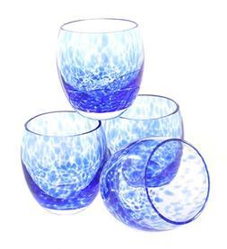 Blue Rose Polish Pottery Cobalt Confetti Juice Glass Set