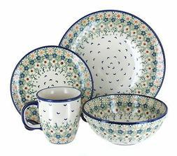 Blue Rose Polish Pottery Green Daisy 16 Piece Dinnerware Set