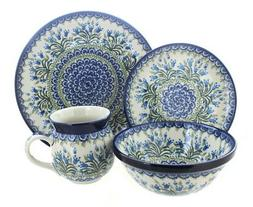 Blue Rose Polish Pottery Tulip Bouquet 16 Piece Dinner Set