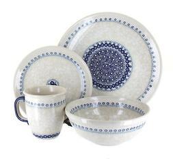 Blue Rose Polish Pottery Victoria 4 Piece Dinner Set
