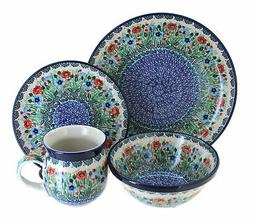 Blue Rose Polish Pottery Watercolor Garden 16 PC Dinnerware