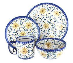 Blue Rose Polish Pottery Yellow Daisy 16PC Dinnerware Set