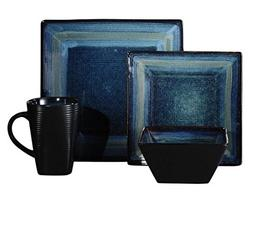 32-Piece Blue Square Highly Durable Stoneware Dinnerware, Di