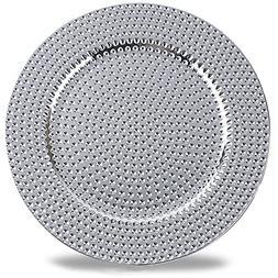 Benzara BM174295 Hammer Pattern Round Plastic Charger Plate