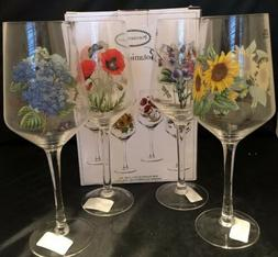 Portmeirion Botanic Garden 16 Oz Wine Glass Set of 4 Flowers