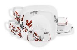 Corelle Boutique Kyoto Leaves Square 16-Piece Dinnerware Set