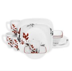 Corelle ® Boutique Kyoto Leaves Square 16-Piece Dinnerware
