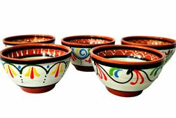 Bowl Sets Terracotta White Salsa Of 5 - Hand Painted From Sp
